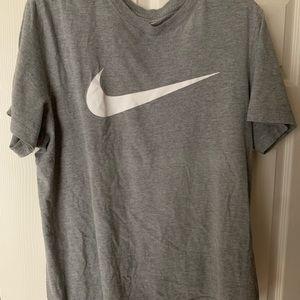 Nike grey tee shirt with white swoosh L
